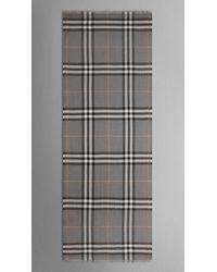 Burberry | Gray Check Wool Silk Scarf | Lyst