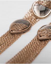 Zara | Metallic Long Earrings | Lyst