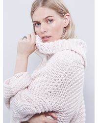 Free People - Pink Split Turtleneck Pullover - Lyst