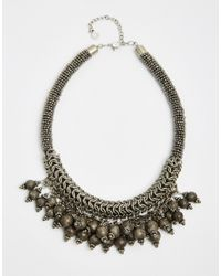 Pieces | Metallic Venia Statement Collar Necklace | Lyst