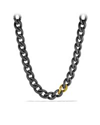 David Yurman | Metallic Black & Gold Curb Link Necklace | Lyst