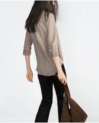Zara | Brown Draped Blouse | Lyst
