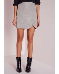 Missguided | Gray Faux Suede Wrap Mini Skirt Light Grey | Lyst