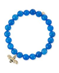 Sydney Evan | Bee Blue Agate Bead Bracelet With Diamonds And Sapphires | Lyst