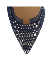 Jimmy Choo - Blue Imogen 110 Navy And Gold Woven Metallic Fabric And Navy Kid Leather Pointy Toe Pumps - Lyst