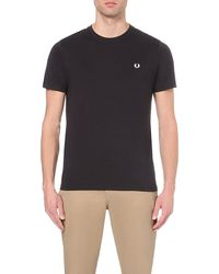 Fred Perry | Black Crew-neck Cotton T-shirt for Men | Lyst