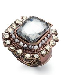 INC International Concepts | Brown Chocolate-tone Stone Pavé Edge Rectangle Ring | Lyst