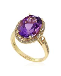 Effy | Purple 14k Yellow Gold Amethyst And Diamond Ring | Lyst