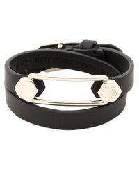 Tod's | Black Leather And Metal Cuff Bracelet | Lyst