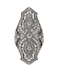 Stone - Diamond & Black Gold Sarah Shield Ring - Lyst