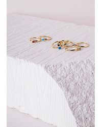 Missguided - Metallic Rainbow Stones Stacking Ring Set Gold - Lyst