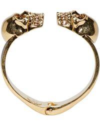 Alexander McQueen - Black And Gold Twin Skull Cuff - Lyst