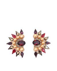 Anton Heunis - Multicolor Fan Shape Crystal Earrings - Lyst