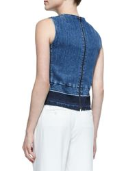 Theory - Blue Reli D Frayed Sleeveless Denim Top - Lyst