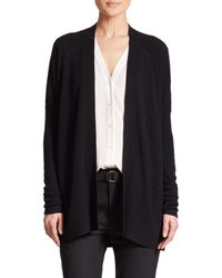 Vince - Black Ribbed Pointelle Cashmere Cardigan - Lyst