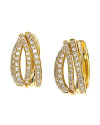 Effy | Metallic Doro Diamond And 14k Yellow Gold Huggie Hoop Earrings | Lyst