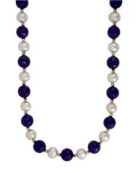 Effy | Black 14k Yellow Gold Pearl And Lapis Necklace | Lyst