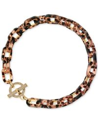Michael Kors | Pink Rose Gold-tone Tortoise-look Collar Necklace | Lyst