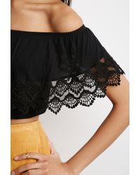 Forever 21 - Black Crocheted Flounce Off-the-shoulder Top You've Been Added To The Waitlist - Lyst