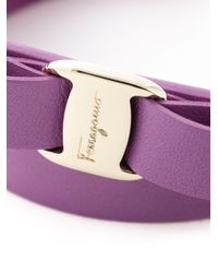 Ferragamo | Purple 'Vara' Bow Wrap Around Bracelet | Lyst