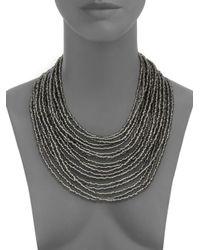 Saks Fifth Avenue   Draped Beaded Statement Necklace/black & Silvertone   Lyst