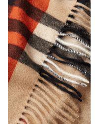 Burberry - Green Cashmere Colorblock Check Scarf - Multicolor for Men - Lyst