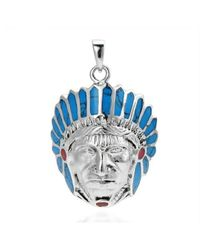 Aeravida | Native American Indian Chief Head Blue-red .925 Silver Pendant | Lyst