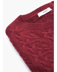 Mango - Red Mixed Knit Sweater - Lyst