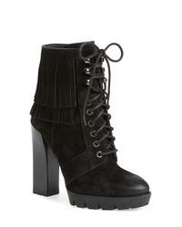 Kenneth Cole | Black Olla Lace-Up Ankle Boots | Lyst