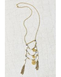 Urban Outfitters | Metallic Layered Bead Pendant Necklace | Lyst