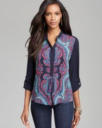 Adrianna Papell | Multicolor Placement Print Henley Top | Lyst