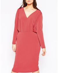 ASOS | Pink Curve Plunge Dress In Crepe With Folded Bodice | Lyst