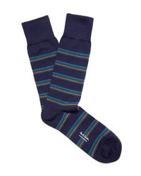 Paul Smith | Blue Navy Fluorescent Twin Stripe Socks for Men | Lyst