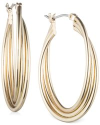 Nine West | Metallic Silver-tone Medium Twist Hoop Earrings | Lyst
