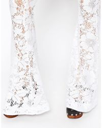 ASOS | White Occasion Flare Trousers In Lace | Lyst