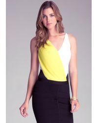 Bebe | Yellow Pleated Colorblock Bodysuit | Lyst