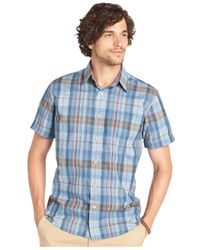 G.H. Bass & Co. - Blue Brushed Pine Madras Short Sleeve Shirt for Men - Lyst