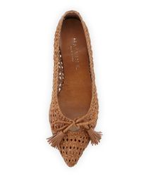 Aquatalia | Brown Doria Woven Leather Tassel Flat Camel | Lyst