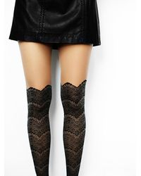 Free People | Black Lemons Womens Westend Lace Cuff Tight | Lyst
