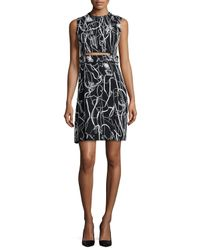 Jason Wu - Black Sleeveless Scribble-print Crepe Dress - Lyst