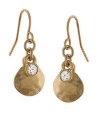Lauren by Ralph Lauren | Metallic Goldtone Hammered Drop Earrings With Crystal Accent | Lyst