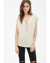 Forever 21 - Natural Oversized Zip-front Top - Lyst