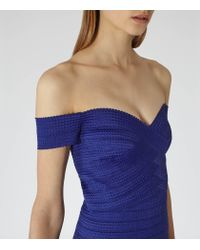 Reiss | Blue Forley Bodycon Off-shoulder Dress | Lyst