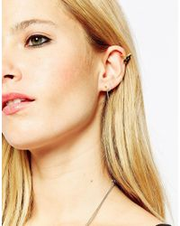 ASOS - Metallic Gold Plated Sterling Silver Premium Mismatch Ear Cuffs Pack Of 3 - Lyst