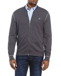 Original Penguin | Gray Fleece Bomber Jacket for Men | Lyst