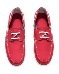 H&M - Red Deck Shoes for Men - Lyst