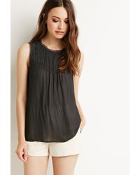 Forever 21 | Gray Pintucked Lace-trimmed Top | Lyst