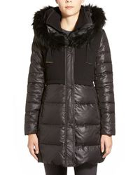 T Tahari | Black 'allegra' Mixed Media Hooded Down Coat With Faux Fur Trim | Lyst