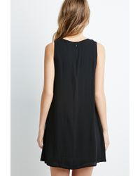 Forever 21 - Black Embroidered Crepe Trapeze Dress - Lyst