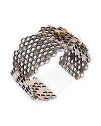 Lucky Brand | Metallic Twotone Bee Honeycomb Cuff Bracelet | Lyst